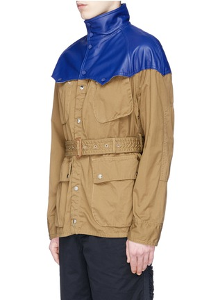 Front View - Click To Enlarge - Sacai - Leather Western yoke storm flap field jacket