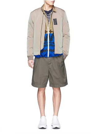 Figure View - Click To Enlarge - Sacai - Leaf embroidery contrast hem shirt jacket