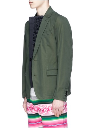 Front View - Click To Enlarge - Sacai - Ruffle underlay Cavalry twill blazer