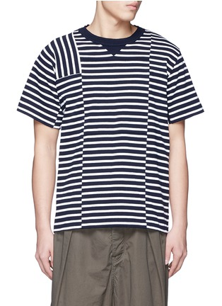 Main View - Click To Enlarge - Sacai - Patchwork stripe T-shirt
