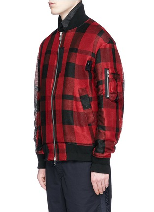 Front View - Click To Enlarge - Sacai - Buffalo check extended underlay bomber jacket