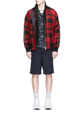 Figure View - Click To Enlarge - Sacai - Buffalo check extended underlay bomber jacket