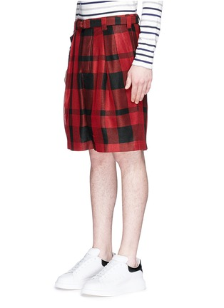 Front View - Click To Enlarge - Sacai - Pleated buffalo check shorts
