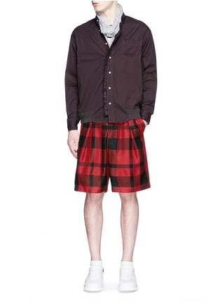 Figure View - Click To Enlarge - Sacai - Pleated buffalo check shorts