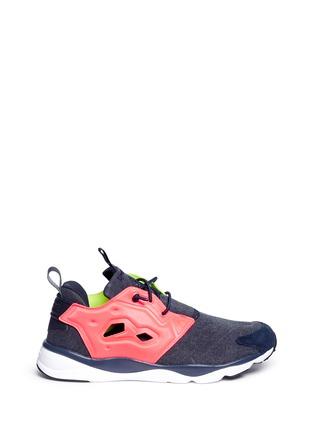 Main View - Click To Enlarge - Reebok - 'Furylite Asymmetrical' contrast panel sneakers