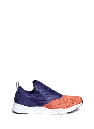 Main View - Click To Enlarge - Reebok - 'FuryLite' waffle knit neoprene slip-on sneakers