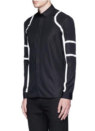 Front View - Click To Enlarge - Neil Barrett - Biker stripe cotton poplin shirt
