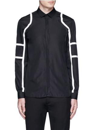 Main View - Click To Enlarge - Neil Barrett - Biker stripe cotton poplin shirt