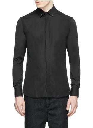 Main View - Click To Enlarge - Neil Barrett - Thunderbolt stud collar poplin shirt