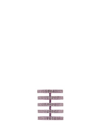 Main View - Click To Enlarge - REPOSSI - 'Berbère' diamond lilac cataphoresis 18k white gold five row ring