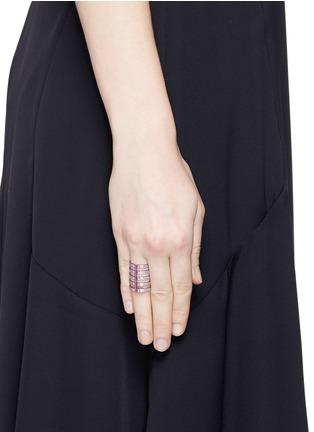 Figure View - Click To Enlarge - REPOSSI - 'Berbère' diamond lilac cataphoresis 18k white gold five row ring