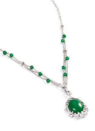 Figure View - Click To Enlarge - SAMUEL KUNG - Diamond jade 18k gold pendant necklace