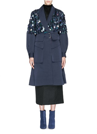 Main View - Click To Enlarge - Dries Van Noten - 'Rome' beaded paillette washed cotton coat
