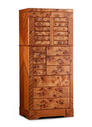 Main View - Click To Enlarge - Agresti - Elm briar wood large jewellery armoire