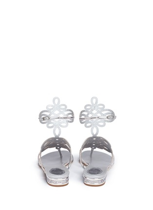 Back View - Click To Enlarge - RENÉ CAOVILLA - Strass pavé cutout satin sandals