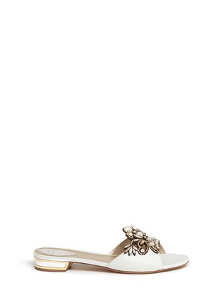Main View - Click To Enlarge - René Caovilla - Strass pearl appliqué leather slide sandals