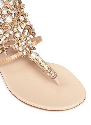 Detail View - Click To Enlarge - René Caovilla - Strass faux pearl embellished leather thong sandals