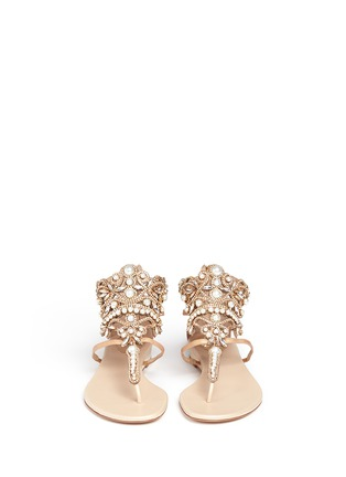 Front View - Click To Enlarge - René Caovilla - Strass faux pearl embellished leather thong sandals