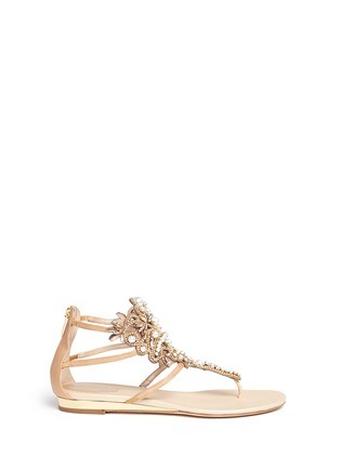 Main View - Click To Enlarge - René Caovilla - Strass faux pearl embellished leather thong sandals