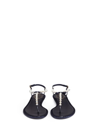 Front View - Click To Enlarge - René Caovilla - Strass border faux pearl T-strap sandals