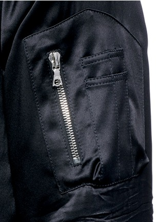 Detail View - Click To Enlarge - Amiri - Distressed trim charmeuse bomber jacket