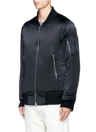 Front View - Click To Enlarge - Amiri - Distressed trim charmeuse bomber jacket