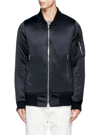 Main View - Click To Enlarge - Amiri - Distressed trim charmeuse bomber jacket