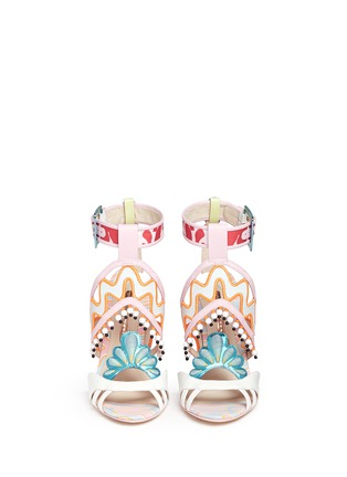 Front View - Click To Enlarge - Sophia Webster - 'Nereida' bead fringe embroidered mixed leather sandals