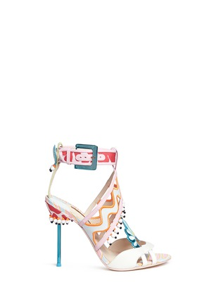Main View - Click To Enlarge - Sophia Webster - 'Nereida' bead fringe embroidered mixed leather sandals