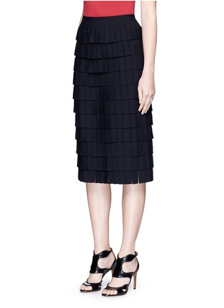 Front View - Click To Enlarge - Alaïa - 'Perse' Grecian fringe knit skirt