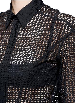 Detail View - Click To Enlarge - Alaïa - 'Vienne' geometric cutout tiered shirt dress