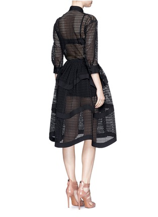 Back View - Click To Enlarge - Alaïa - 'Vienne' geometric cutout tiered shirt dress