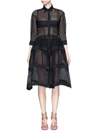 Main View - Click To Enlarge - Alaïa - 'Vienne' geometric cutout tiered shirt dress