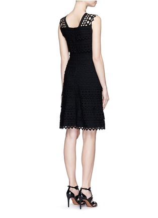 Back View - Click To Enlarge - AZZEDINE ALAÏA - 'Vienne' geometric cutout ruffle tier knit dress