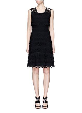 Main View - Click To Enlarge - Alaïa - 'Vienne' geometric cutout ruffle tier knit dress