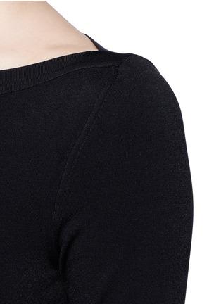 Detail View - Click To Enlarge - Alaïa - Envelope neck dense knit bodysuit