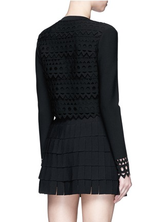 Back View - Click To Enlarge - Alaïa - 'Vienne' geometric cutout perforated cropped cardigan