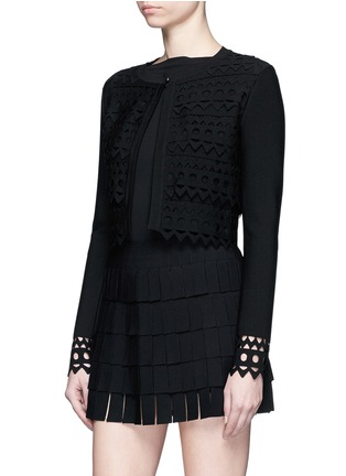 Front View - Click To Enlarge - Alaïa - 'Vienne' geometric cutout perforated cropped cardigan