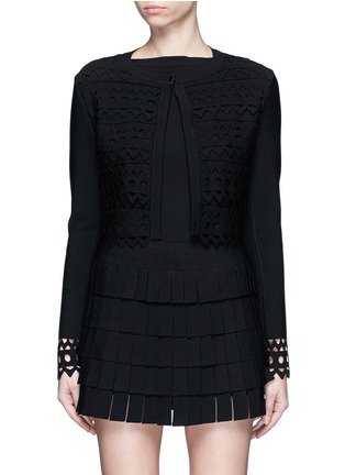 Main View - Click To Enlarge - Alaïa - 'Vienne' geometric cutout perforated cropped cardigan