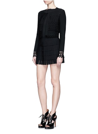 Figure View - Click To Enlarge - Alaïa - 'Vienne' geometric cutout perforated cropped cardigan