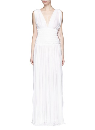 Main View - Click To Enlarge - Alaïa - Ruched deep split jersey Grecian gown