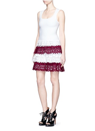 Figure View - Click To Enlarge - Alaïa - 'Vienne' geometric cutout perforated knit tier dress