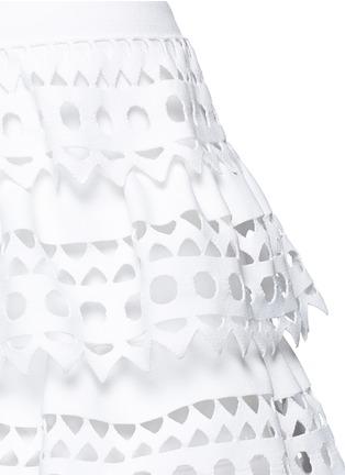 Detail View - Click To Enlarge - Alaïa - 'Vienne' geometric cutout ruffle tier knit dress