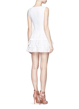 Back View - Click To Enlarge - Alaïa - 'Vienne' geometric cutout ruffle tier knit dress