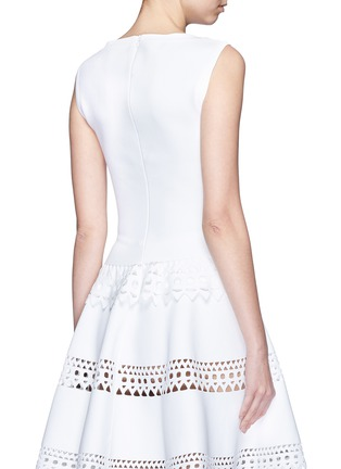 Back View - Click To Enlarge - Alaïa - 'Vienne' geometric perforated knit top