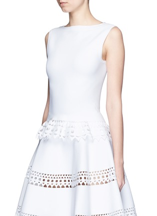 Front View - Click To Enlarge - Alaïa - 'Vienne' geometric perforated knit top