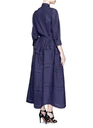 Back View - Click To Enlarge - Alaïa - Ladder stitch cotton poplin tiered shirt dress