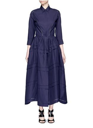 Main View - Click To Enlarge - Alaïa - Ladder stitch cotton poplin tiered shirt dress