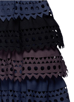 Detail View - Click To Enlarge - Alaïa - 'Vienne' perforated ruffle tier sleeveless knit dress