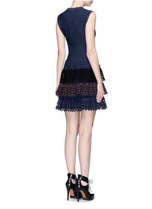 Back View - Click To Enlarge - Alaïa - 'Vienne' perforated ruffle tier sleeveless knit dress